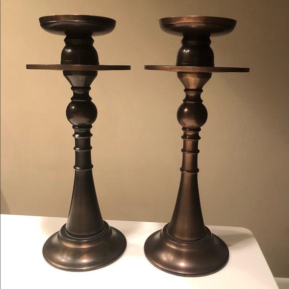Pottery Barn Kistler Pillar Candleholders, Bronze
